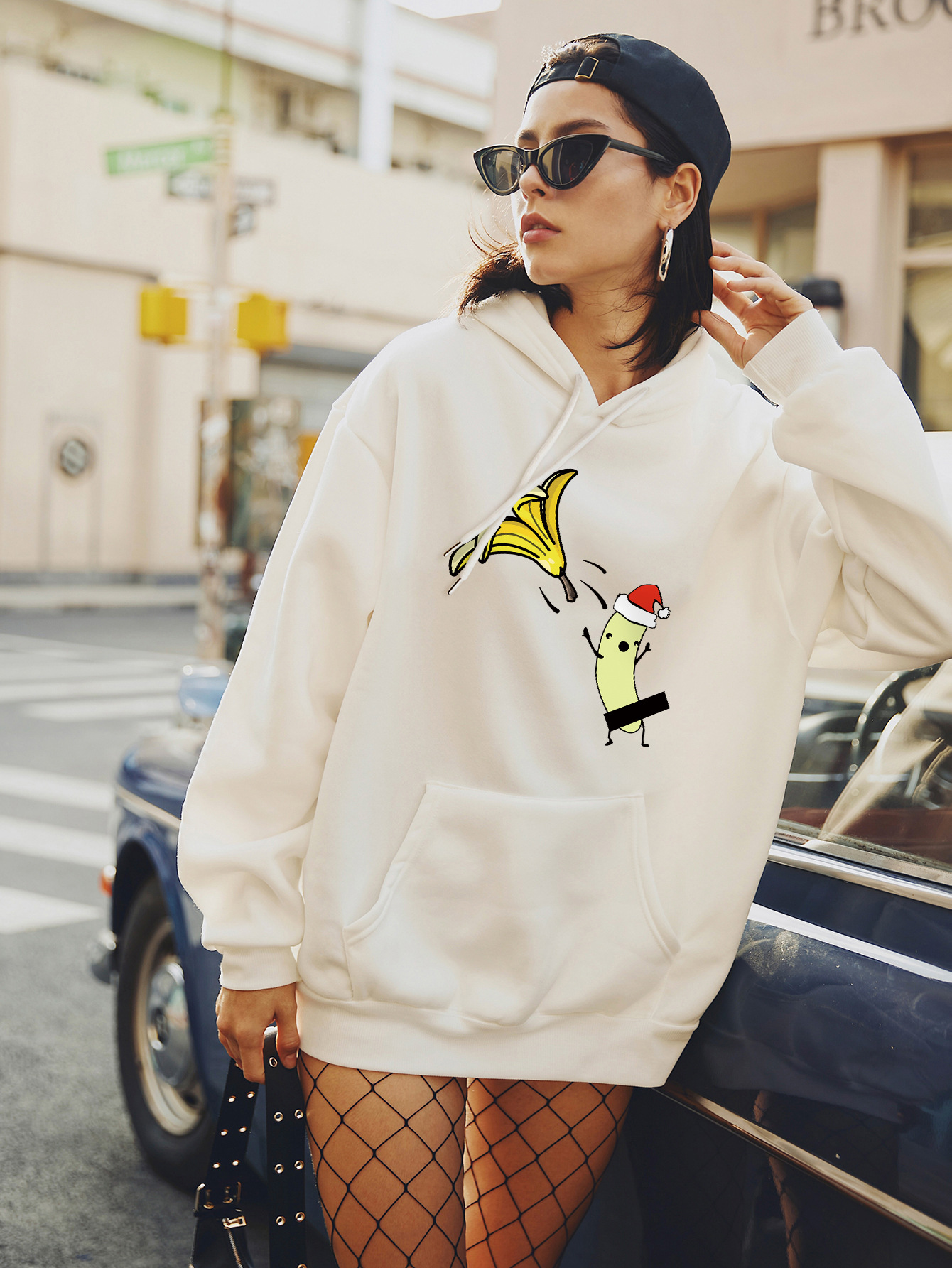 women's autumn and winter Christmas funny banana plus size hooded sweater NSSN4160