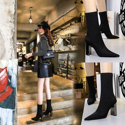 3128-11 European and American fashion metal with thick with ultra-high with pointed sexy nightclub show thin wool boots