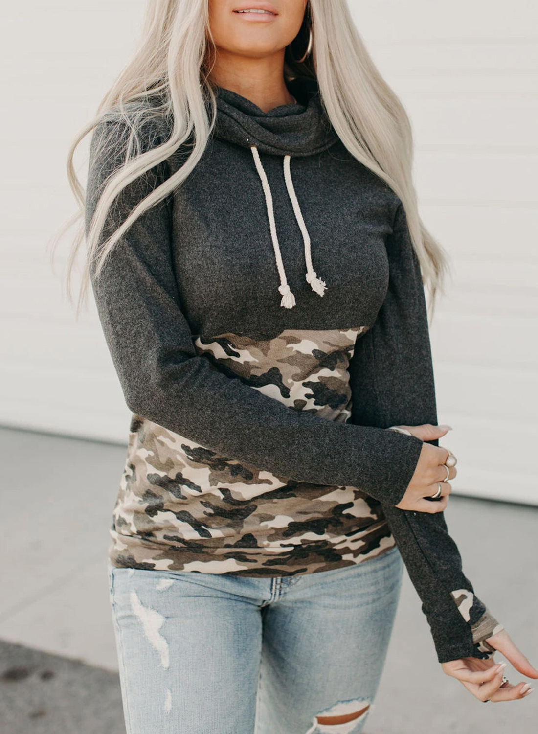 women autumn new long-sleeved camouflage hit color street style pile collar sweater  NSSI2730