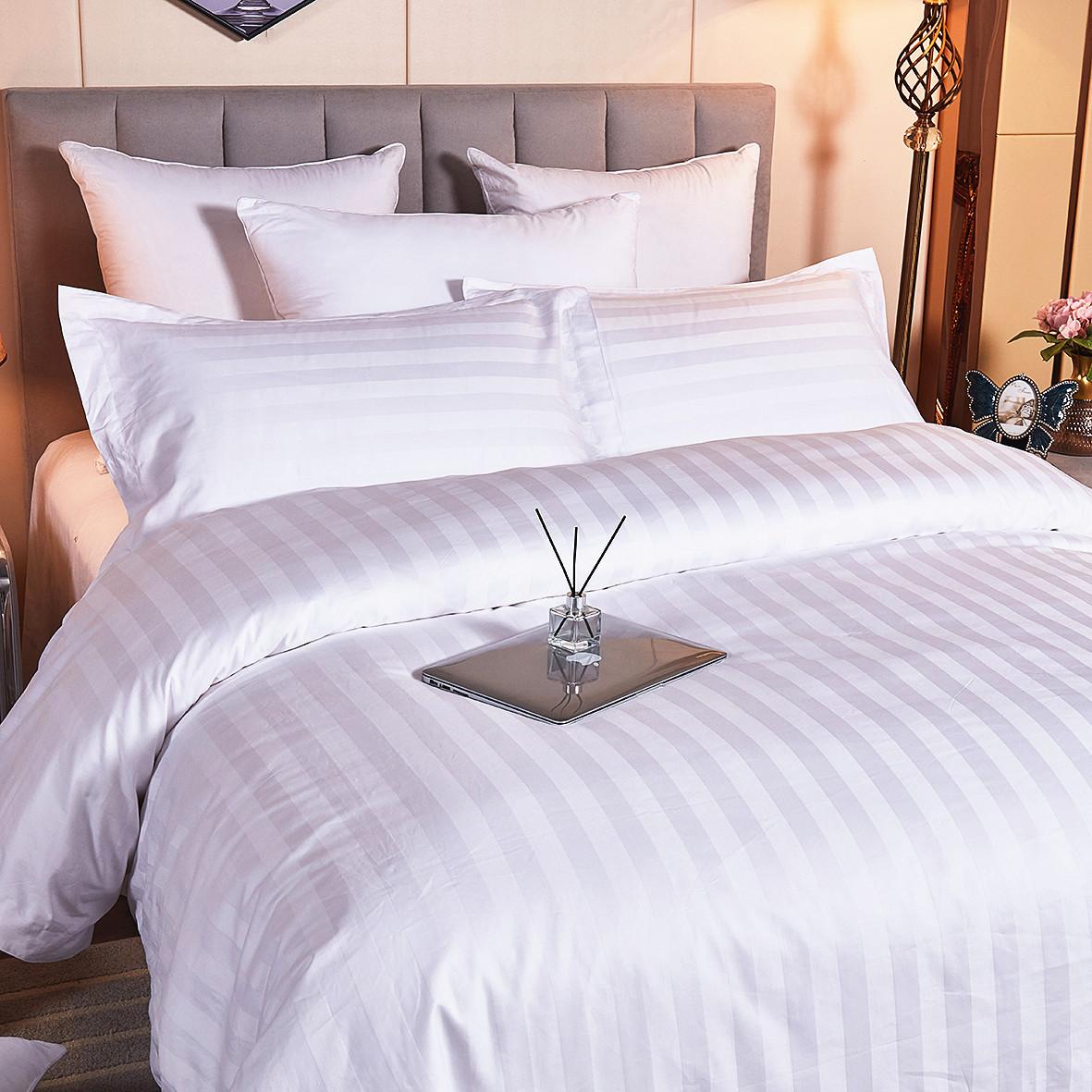 酒店宾馆民宿纯棉三公分缎条四件套全棉布草床上用品厂家定制批发