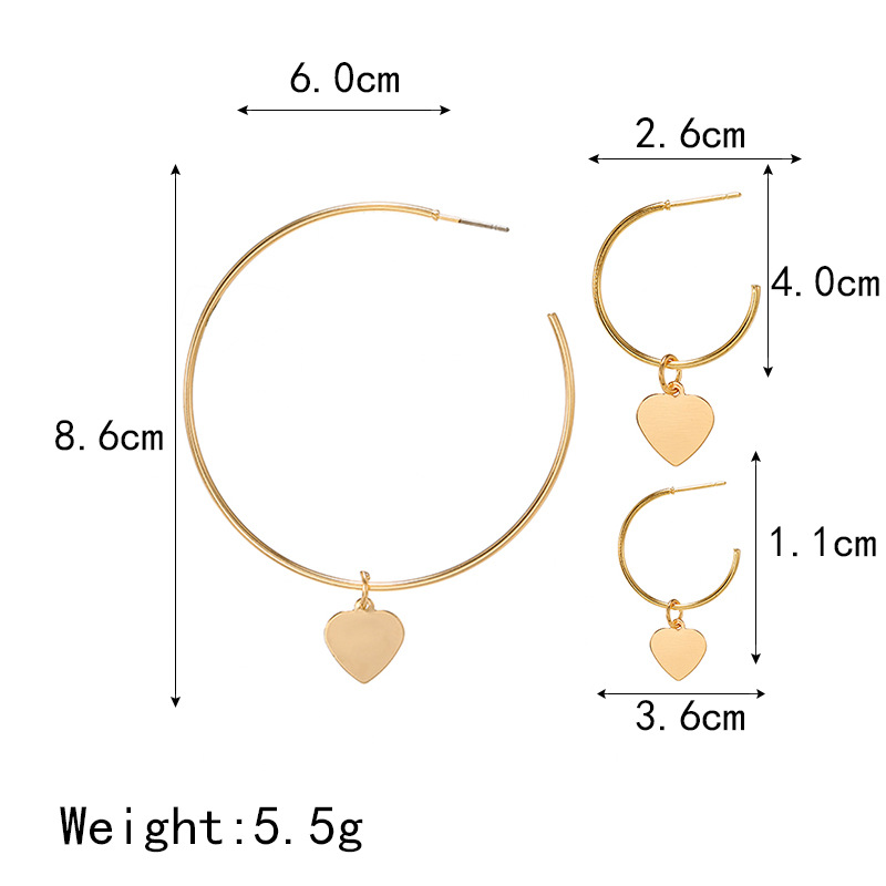 New jewelry exaggerated ring love earrings gold three-piece set NHPF203018