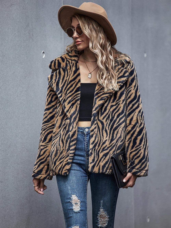 fashion tiger print long-sleeved lapel autumn jacket wholesale NHDF96