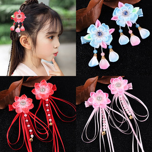 chinese hanfu hair accessory for girls Chinese hand made double layer peach blossom edge clip with horsetail clip