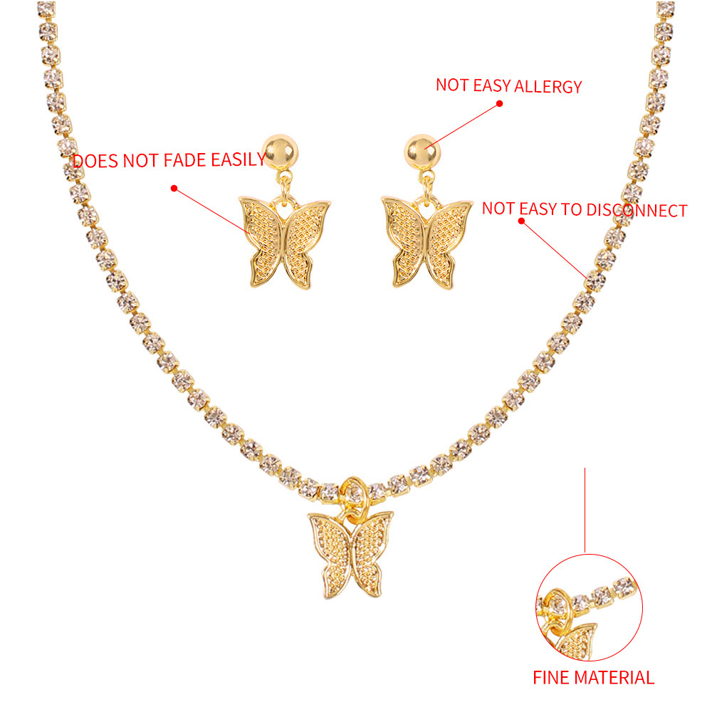 fashion style jewelry set new holiday style geometric butterfly earring necklace set wholesale nihaojewelry NHMD231911