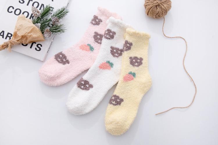 plush coral fleece socks women's socks winter sleep socks ladies plus fleece home floor socks  NSFN4062