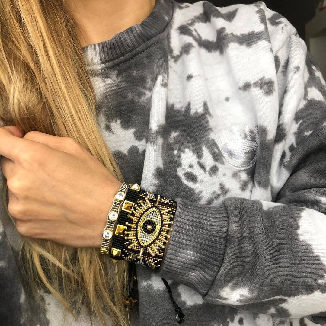 diamondstudded beaded Miyuki rice bead bracelet  NHGW296763