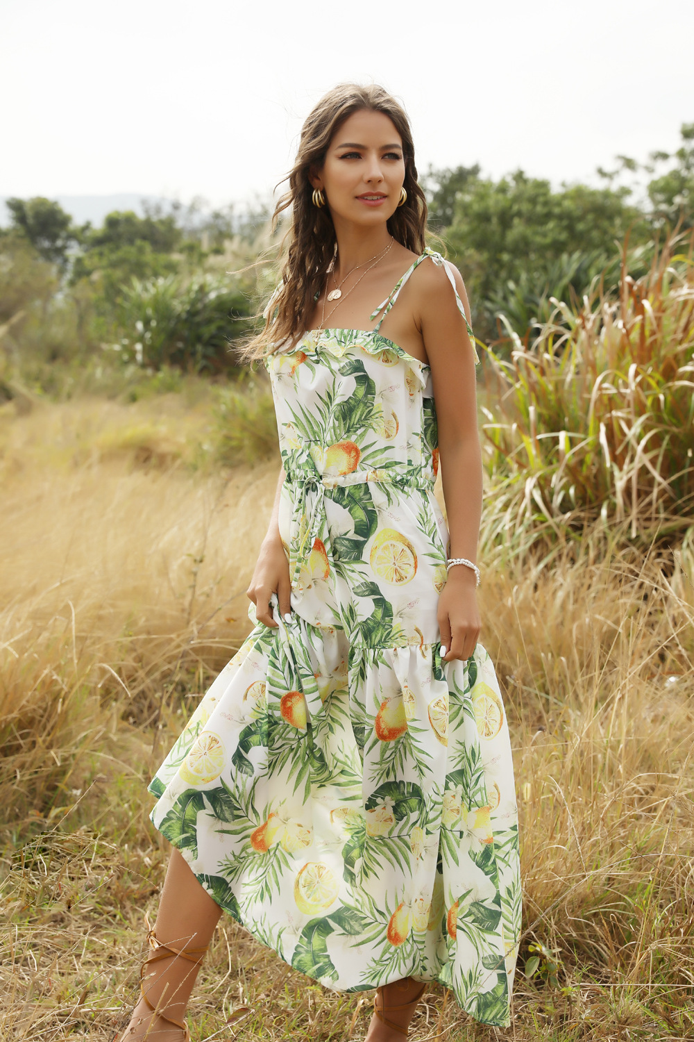 Sling wrapped chest strap fruit print long dress spring and summer women's clothing NHDF204883