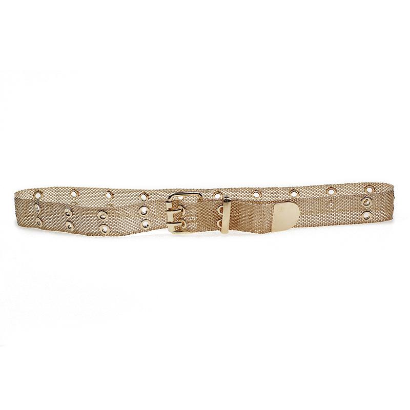 跨境欧美网状汽眼腰链 女士装饰链条腰带定制 铁丝网金属腰带