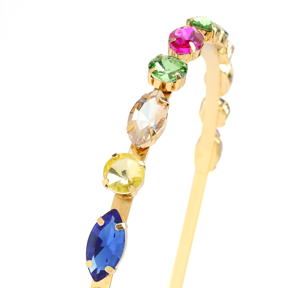 korean hot-selling fashion colorful glass diamonds  headband wholesale nihaojewelry NHJE230893