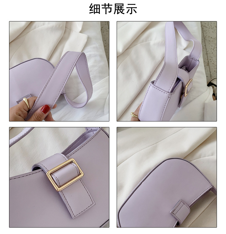new retro wild casual metal buckle single shoulder armpit bag summer fashion simple portable saddle bag wholesale nihaojewelry NHPB220836