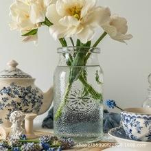 vintager欧美法式田园复古浮雕透明玻璃水培养干鲜花束大口径花瓶