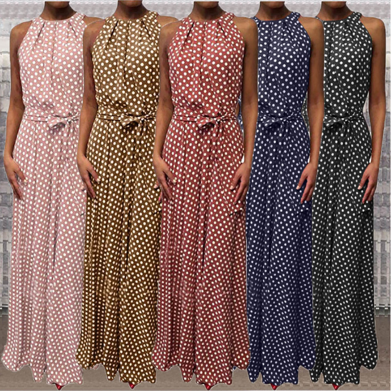 Cross border 2020 summer new Amazon wish popular European and American fast selling long dress with ventilation quality and wave point