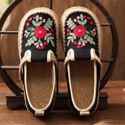 Ethnic style women cloth shoes retro embroidery cotton linen chinese Hanfu shoes flat-heel old beijing embroidered clothing shoes