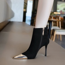 173-1 European and American Style Sexy nightclub slim short boots slim heel high heel suede metal pointed side zipper and bare boots