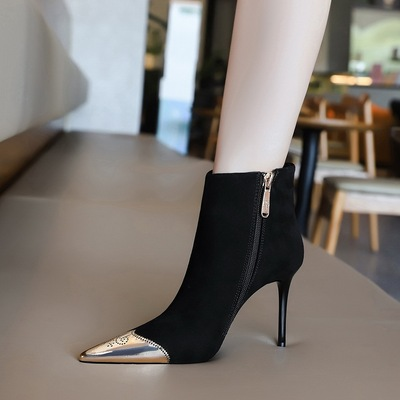 173-1 the European and American wind sexy nightclub show thin thin short boots with high heels suede bare metal point si