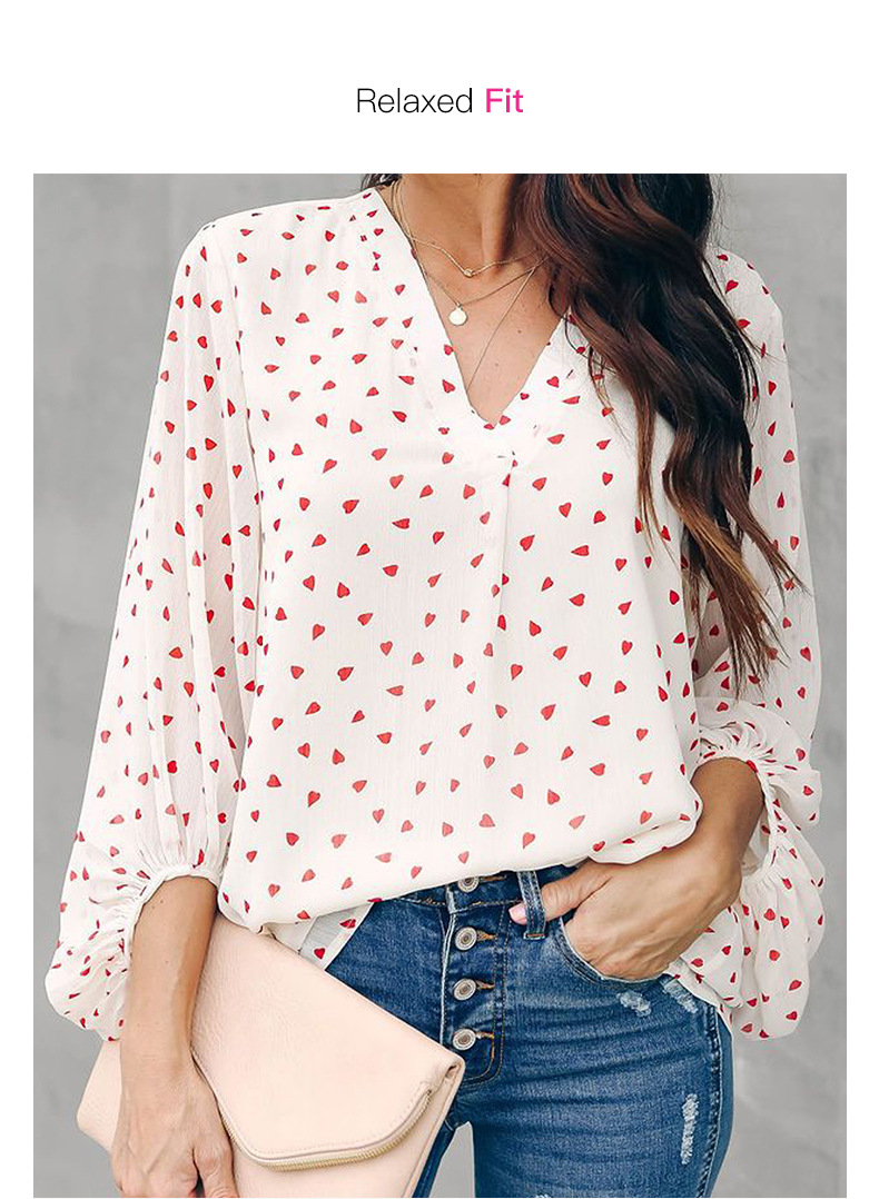 women's autumn new wave point casual lantern sleeve long sleeve v-neck top NSSI2322
