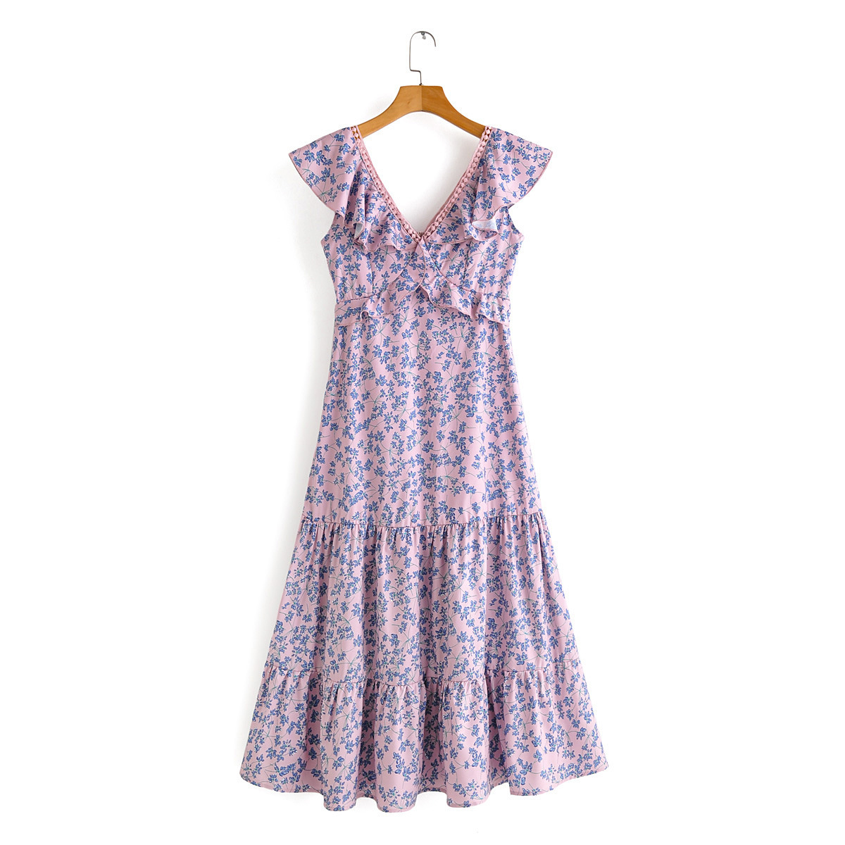 2020 European and American spring women's new wholesale Ruffle V-neck Printed Dress