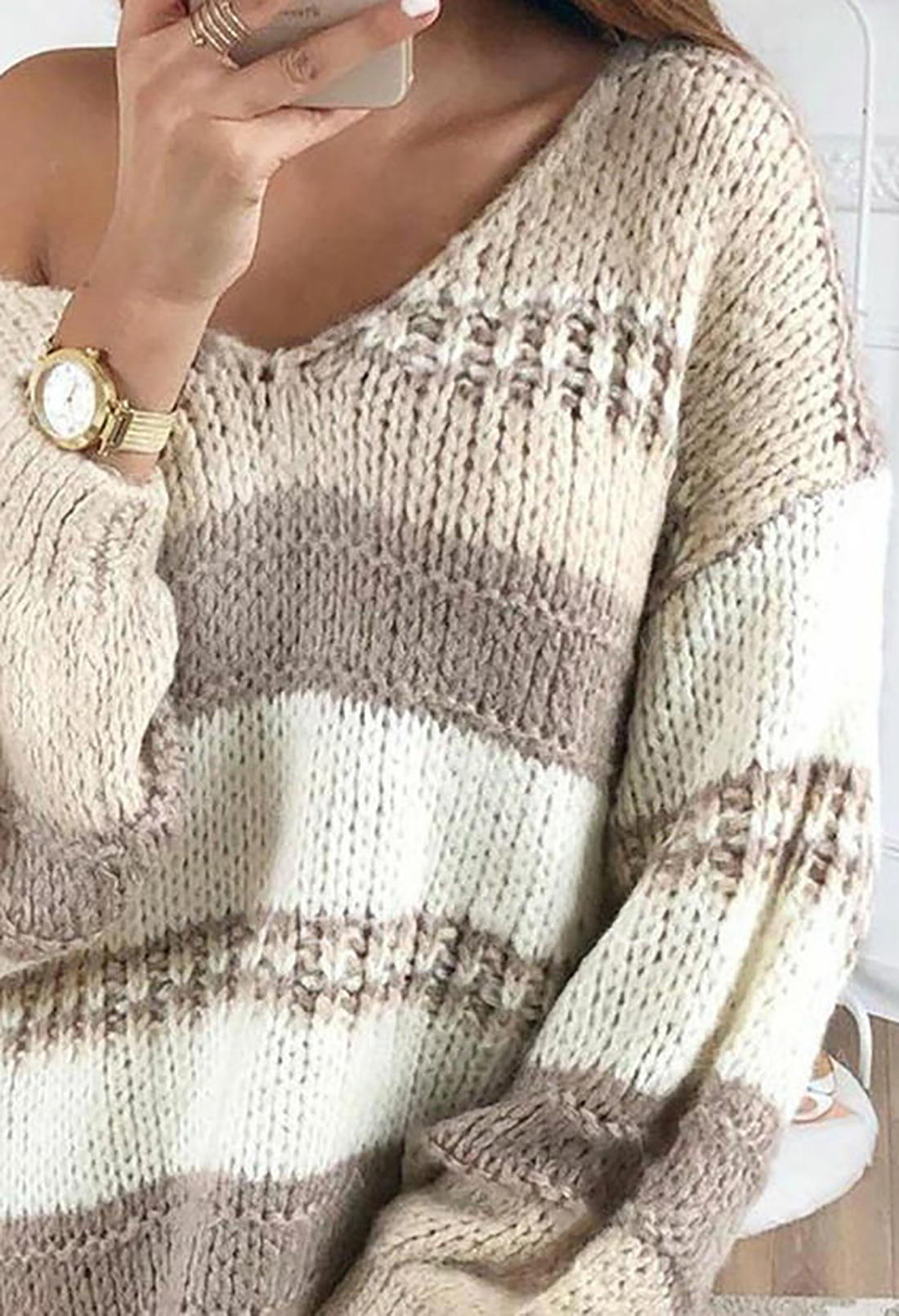 V-neck striped mid-length knitted sweater  NSSI2432
