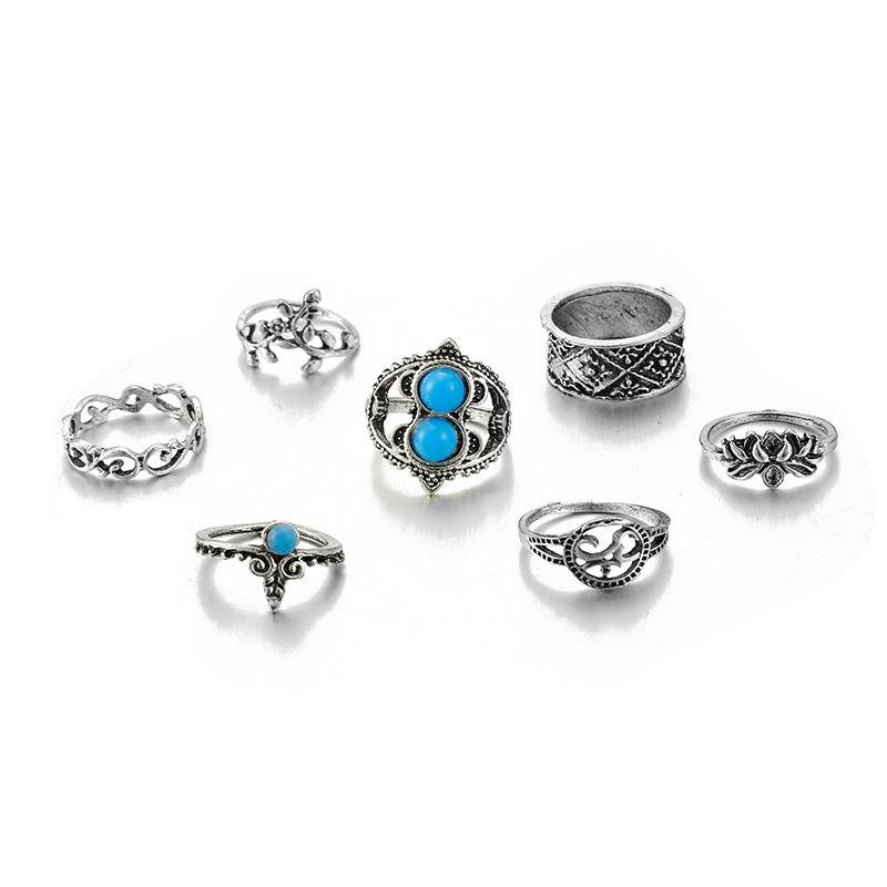 Vintage Turquoise Leaf Lotus Ring 7-Piece Hollow Wide Joint Ring Set NHGY202885