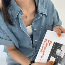 黄峥薄款翻领短袖牛仔衬衫女2020夏季韩版宽松显瘦衬衣上衣C9770