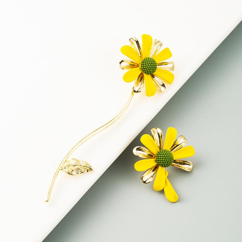 New  Korean Sweet Asymmetrical S925 Silver Flower  Earrings wholesale  NHLN240219