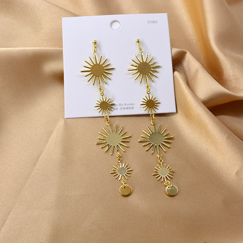 Real Gold Plated 925 Silver Needle Long Sun Tassel Earrings Fashion Earrings NHNT205143