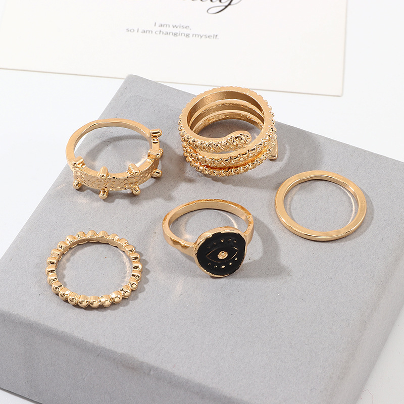 Jewelry Pin Snake Ring Ring Oil Eyes Rings Set NHNZ195981