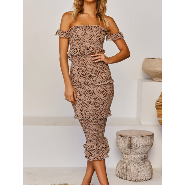 Summer 2020 new strapless dress Amazon sells two-piece dresses with lotus leaf leopard print hemline and three-color skirt