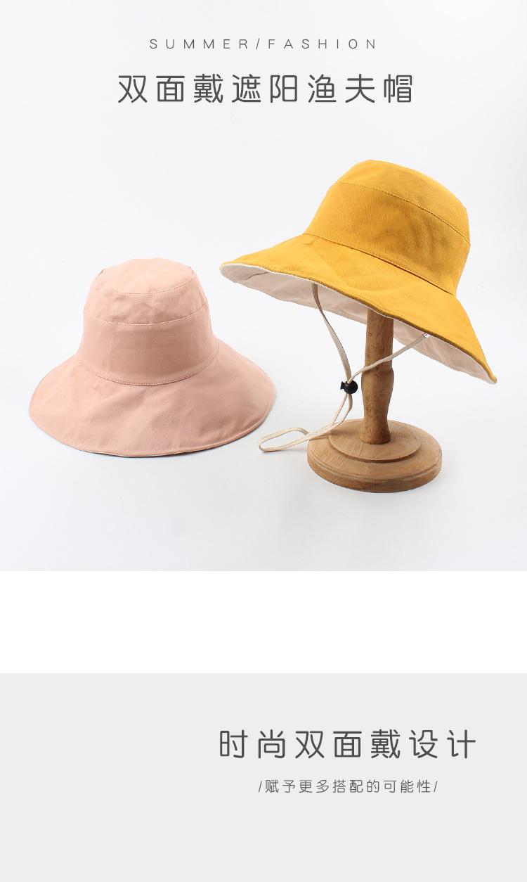 Hat summer sunscreen hat Japanese literature and art wild travel leisure sun hat Korean fashion both sides wearing fisherman hat wholesale nihaojewelry NHXO220642