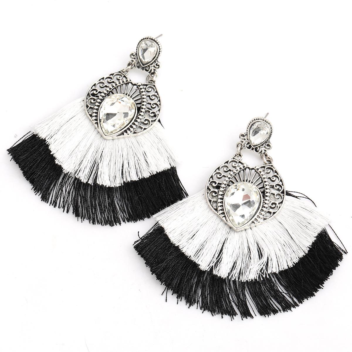 Fashion Black Alloy Inlaid Glass Diamond Double Fan-shaped Tassel Earrings