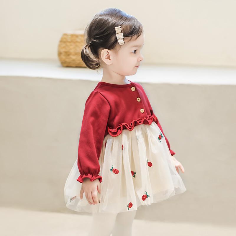 女宝宝公主裙春秋装新款秋裙3岁女童连衣裙纱裙1周岁婴儿洋气裙子