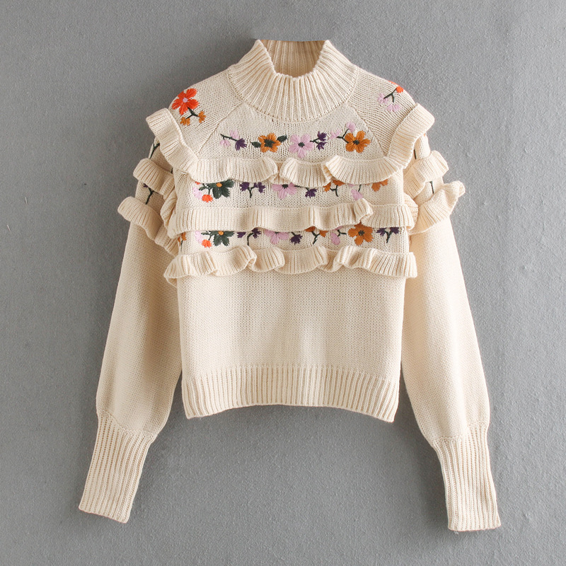 Wholesale embroidered and layered decorative knitwear suppliers china NHAM203426