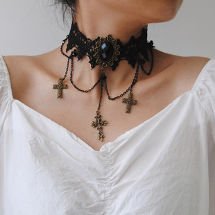 European and American exaggerated cross collar soft girl Su Feng lace jewelry necklace short necklace jewelry