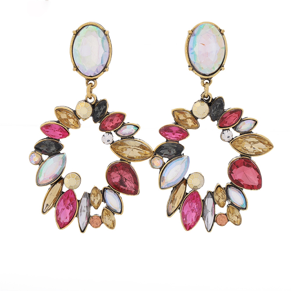 Fashion geometric multilayer alloy diamond earrings female retro long earrings NHLN203488