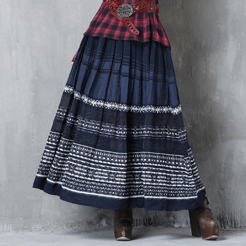 品牌女装2020秋装新款刺绣长裙 民族风条纹拼接百褶裙半身裙X2211