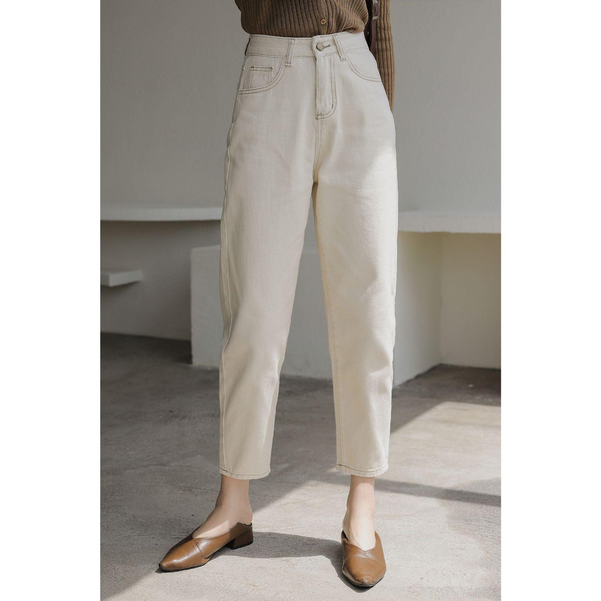 2021秋装新款韩版时尚宽松哈伦裤九分裤小脚白色高腰牛仔裤女