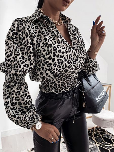 hot sale autumn and winter new long-sleeved V-neck leopard print ladies shirt NSYD6384