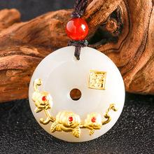 廠家批發金鑲玉吊墜 足金鑲嵌和田玉金鑲花開富貴牡丹玉石掛件