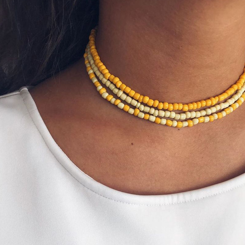 Wild niche color simple rice bead series multilayer beaded alloy necklace for women  NHGY248165