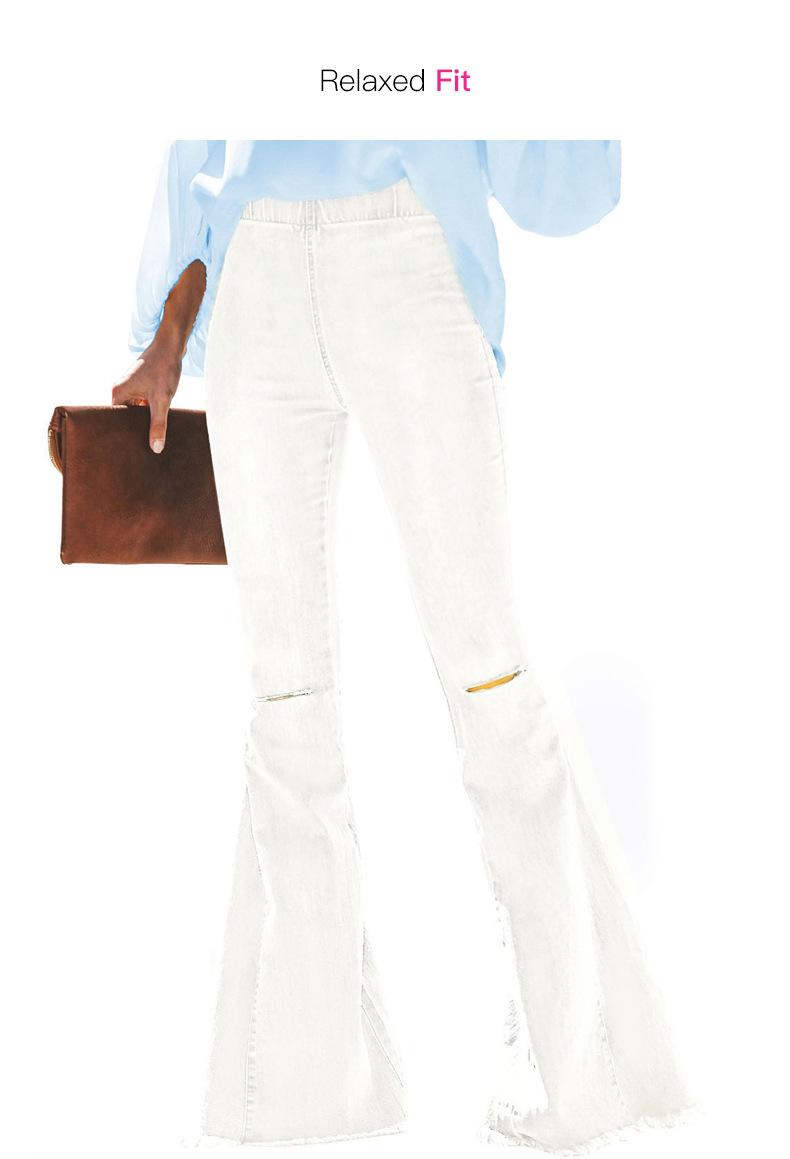 elastic waist knee hole trousers raw edge flared pants  NSSI2328