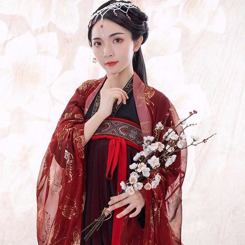 hanfu six meters chest length, big skirt, ancient red dress, ancient Chinese women clothing