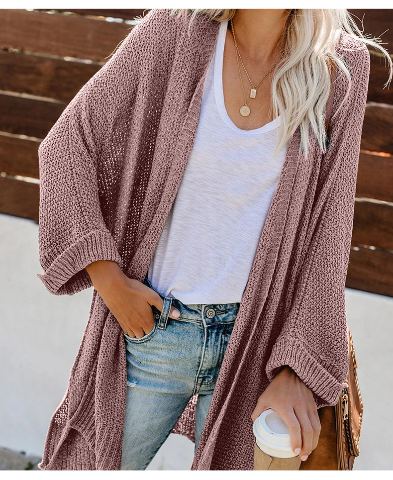 loose solid color knitted women's cardigan mid-length jacket NSSI2336