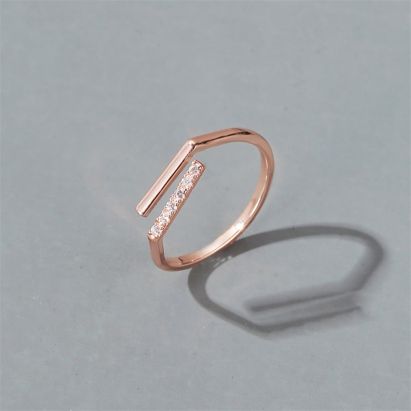 new ring simple word ring ladies personality micro inlaid zircon line opening index finger ring wholesale nihaojewelry  NHMO219196