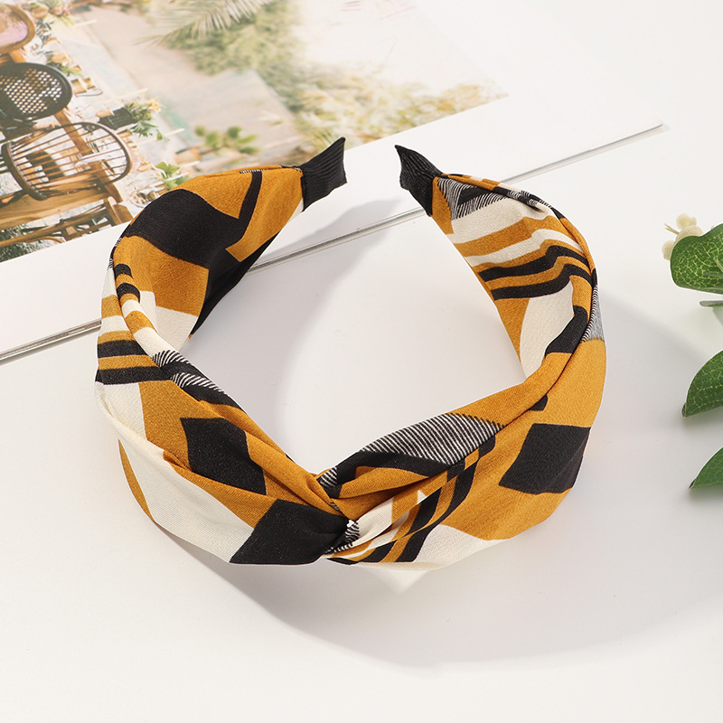 Korean new floral cross fabric simple wide-sided knotted non-slip headband  NHAU270242