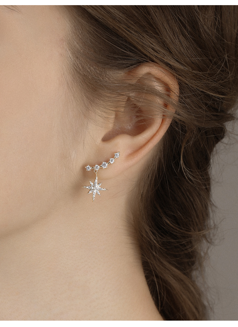 six-pointed star fashion simple 925 silver needle stud earrings long ear jewelry wholesale nihaojewelry NHPP245829
