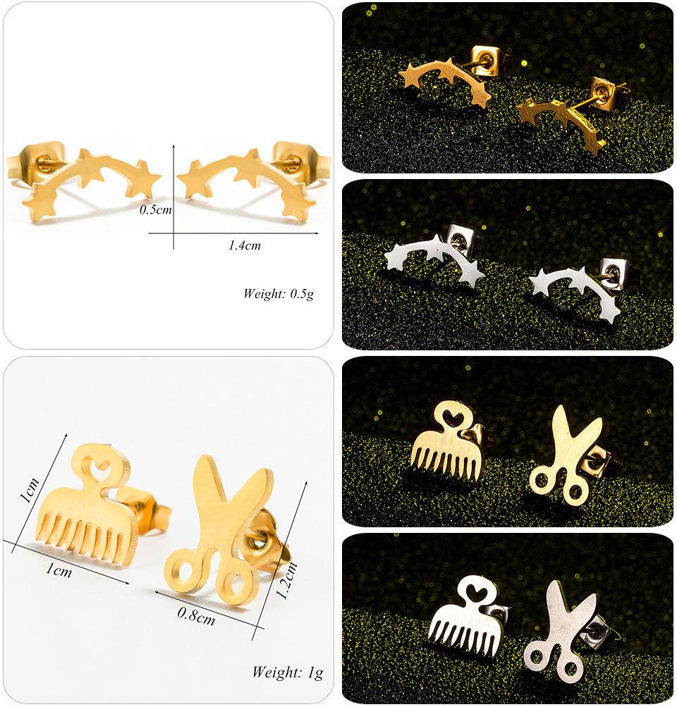 einfache Edelstahl geometrische Form Ohrringe Grohandel NHAKJ329967