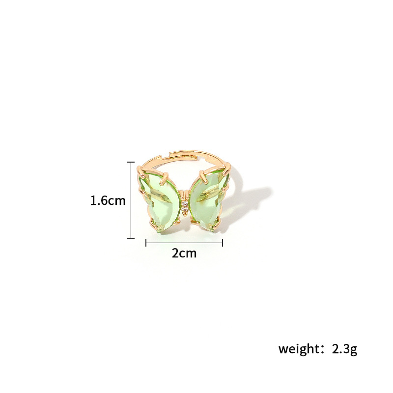 acrylic butterfly color transparent ring trendy girl simple fashion ring wholesale nihaojewelry NHRN236231