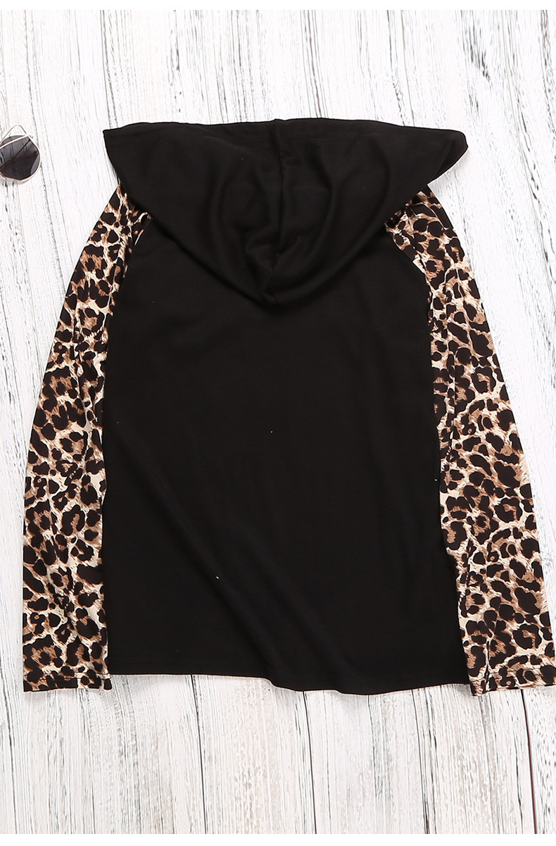 long-sleeved autumn stitching leopard print hooded rope pullover women's sweater NSSI2398