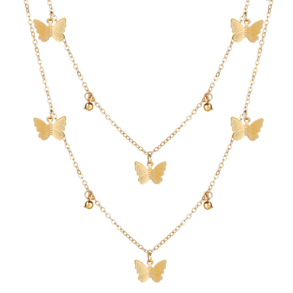 hot sale butterfly necklace creative retro simple alloy metal multilayer clavicle chain wholesale nihaojewelry NHYI220219