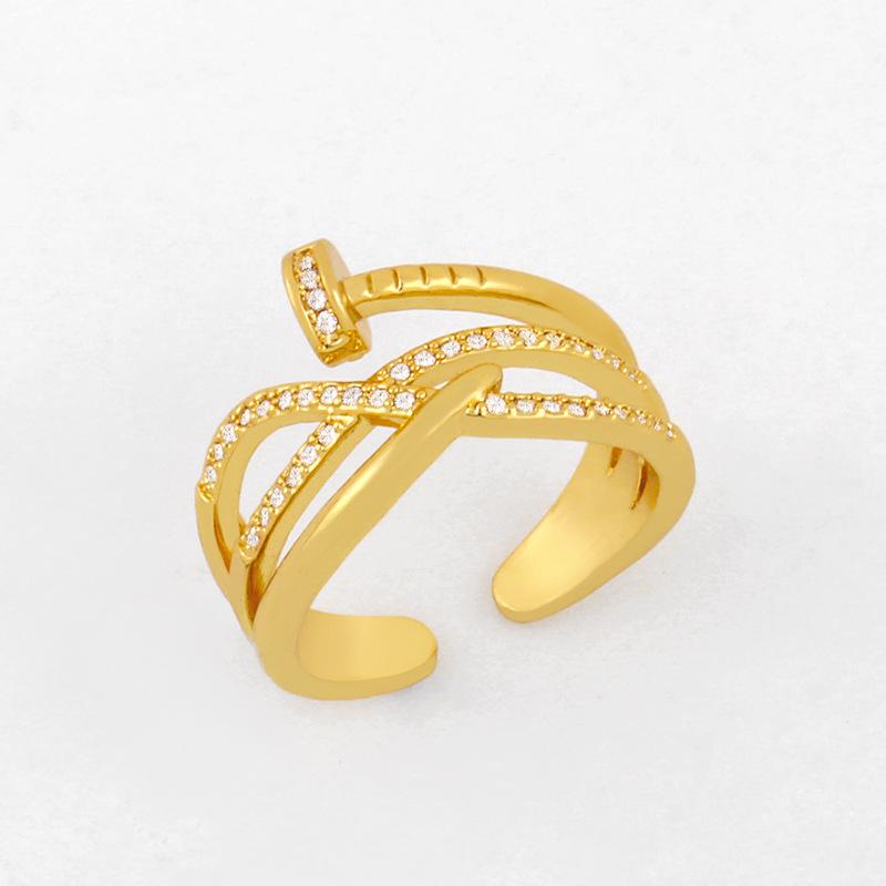 hot selling fashion nail ring diamond open ring wholesale nihaojewelry NHAS234069